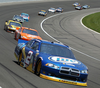 KANSAS CITY, KS - JUNE 05:  Brad Keselowski, driver of the #2 Miller Lite Dodge, leads a group of cars during the NASCAR Sprint Cup Series STP 400 at Kansas Speedway on June 5, 2011 in Kansas City, Kansas.  (Photo by Jamie Squire/Getty Images)