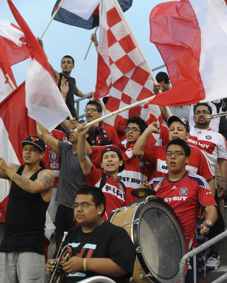 BRIDGEVIEW, IL - JUNE 4: Chicago Fire fans cheer during the  match against theSeattle Sounders FC in an MLS match on June 4, 2011 at Toyota Park in Bridgeview, Illinois. The Fire and the Sounders game ended in a 0-0 tie. The Fire and the Sounders game end