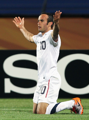 RUSTENBURG, SOUTH AFRICA - JUNE 26: Landon Donovan of the United States gestures during the 2010 FIFA World Cup South Africa Round of Sixteen match between USA and Ghana at Royal Bafokeng Stadium on June 26, 2010 in Rustenburg, South Africa.  (Photo by Ia