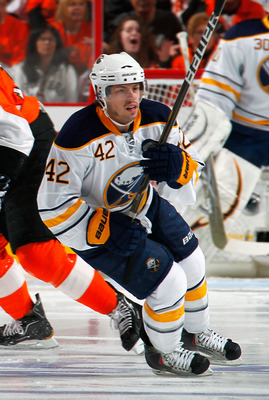 PHILADELPHIA, PA - APRIL 16:  Nathan Gerbe #42 of the Buffalo Sabres skates against the Philadelphia Flyers in Game Two of the Eastern Conference Quarterfinals during the 2011 NHL Stanley Cup Playoffs at Wells Fargo Center on April 16, 2011 in Philadelphi