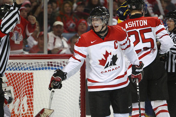 BUFFALO, NY - DECEMBER 31: Defenseman Ryan Ellis #6 of Canada voices a complaint to the official during the 2011 IIHF World U20 Championship game between Canada and Sweden on December 31, 2010 at HSBC Arena in Buffalo, New York. (Photo by Tom Szczerbowski