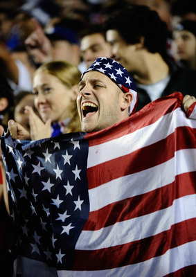 CARSON, CA - JANUARY 22:  Fans of United States cheer for their team during the friendly soccer match against Chile at The Home Depot Center on January 22, 2011 in Carson, California.  (Photo by Kevork Djansezian/Getty Images)
