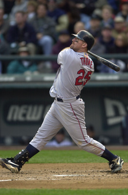 9 OCT 2001: Jim Thome #25 of the Cleveland Indians swings at a pitch during game one of the American League Division Series against the Seattle Mariners at Safeco Field in Seattle, Washington. The Indians defeated the Mariners 5-0 to take a one game to no