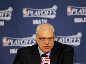DALLAS, TX - MAY 08:  Head coach Phil Jackson of the Los Angeles Lakers during a press conference after a loss against the Dallas Mavericks in Game Four of the Western Conference Semifinals during the 2011 NBA Playoffs on May 8, 2011 at American Airlines