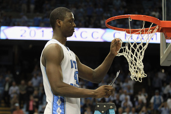 CHAPEL HILL, NC - MARCH 05:  Harrison Barnes #40 of the North Carolina Tar Heels celebrates winning the ACC Regular Season Championship as they defeated the Duke Blue Devils 81-67 at the Dean E. Smith Center on March 5, 2011 in Chapel Hill, North Carolina