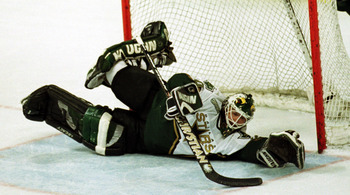 13 Apr 2000:  Goalie Ed Belfour #20 of the Dallas Stars makes a save on the Edmonton Oilers in the first period of Game 2 of the first round of the playoffs at Reunion Arena in Dallas, Texas. Eddie 'The Eagle' got the 3-0 shutout. Mandatory Credit:  Ronal