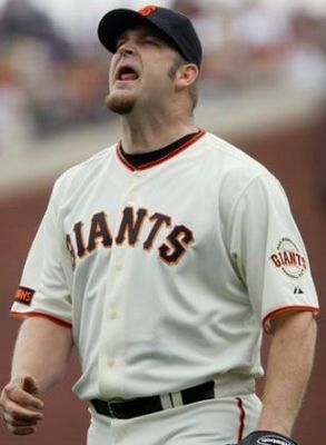SAN FRANCISCO - SEPTEMBER 13:  Brad Penny #31 of the San Francisco Giants reacts during the fourth inning against the Los Angeles Dodgers during a Major League Baseball game at AT&T Park on September 13, 2009 in San Francisco, California.  (Photo by Jed J