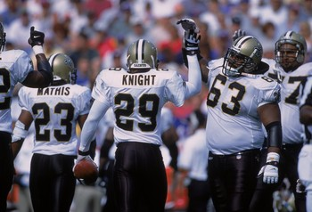 9 Sep 2001:  Sammy Knight #29 of the New Orleans Saints celebrates with Wally Williams #63 after catching 1 of 3 interceptions during the game against the Buffalo Bills at the Ralph Wilson Stadium in Orchard Park, New York.  The Saints defeated the Bills