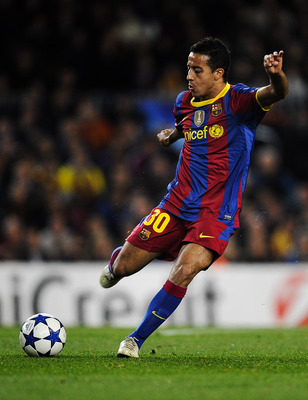 BARCELONA, SPAIN - DECEMBER 07:  Thiago Alcantara of Barcelona makes a pass during the Champions League match between Barcelona and Rubin Kazan at Camp Nou Stadium on December 7, 2010 in Barcelona, Spain. Barcelona won 2-0.  (Photo by David Ramos/Getty Im