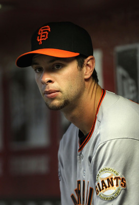 PHOENIX, AZ - APRIL 17:  Brandon Belt #9 of the San Francisco Giants watches from the dugout during the Major League Baseball game against the Arizona Diamondbacks at Chase Field on April 17, 2011 in Phoenix, Arizona.  (Photo by Christian Petersen/Getty I