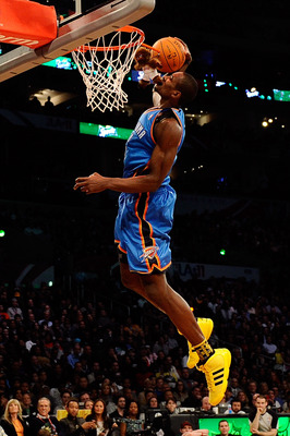LOS ANGELES, CA - FEBRUARY 19:  Serge Ibaka #9 of the Oklahoma City Thunder dunks the ball after he grabs a stuffed animal with his mouth in the Sprite Slam Dunk Contest apart of NBA All-Star Saturday Night at Staples Center on February 19, 2011 in Los An