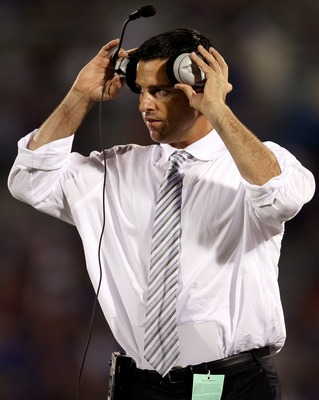 LAWRENCE, KS - SEPTEMBER 22:  Head coach Mario Cristobal of the Florida International Golden Panthers watches from the sidelines during the game against the Kansas Jayhawks on September 22, 2007 at Memorial Stadium in Lawrence, Kansas.  (Photo by Jamie Sq