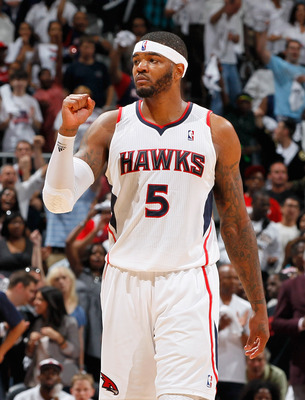 ATLANTA, GA - MAY 08:  Josh Smith #5 of the Atlanta Hawks reacts after a foul was overturned as an inadvertent whistle to the Hawks possession against the Chicago Bulls in Game Four of the Eastern Conference Semifinals in the 2011 NBA Playoffs at Phillips
