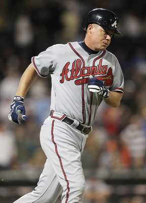NEW YORK, NY - JUNE 03:  Chipper Jones #10 of the Atlanta Braves against the New York Mets at Citi Field on June 3, 2011 in the Flushing neighborhood of the Queens borough of New York City.  (Photo by Nick Laham/Getty Images)