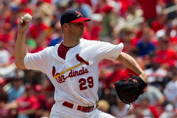 ST. LOUIS, MO - JUNE 5: Starter Chris Carpenter #29 of the St. Louis Cardinals pitches against the Chicago Cubs at Busch Stadium on June 5, 2011 in St. Louis, Missouri.  The Cardinals beat the Cubs 3-2 in 10 innings.  (Photo by Dilip Vishwanat/Getty Image