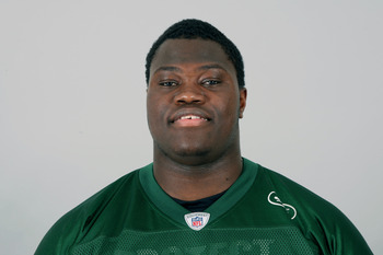 FLORHAM PARK, NJ - CIRCA 2010: In this handout image provided by the NFL, Vladimir Ducasse of the New York Jets poses for his 2010 NFL headshot circa 2010 in Florham Park, New Jersey. (Photo by NFL via Getty Images)