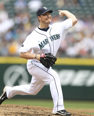 SEATTLE, WA - JUNE 05:  Starting pitcher Erik Bedard #45 of the Seattle Mariners pitches against the Tampa Bay Rays at Safeco Field on June 5, 2011 in Seattle, Washington. (Photo by Otto Greule Jr/Getty Images)