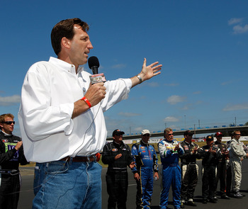 PORTLAND, OR - JULY 18:  Oregon gubernatorial candidate Chris Dudley premeets drivers and speaks before the NASCAR K&N Pro Series West Bi-Mart Salute to the Troops 125 on July 18, 2010 at Portland International Raceway in Portland, Oregon.  (Photo by Jona