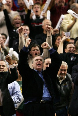 PORTLAND, OR - DECEMBER 21:  Portland Trail Blazers owner Paul Allen celebrates  his team's 10th consecutive victory  during the game against the Denver Nuggets at the Rose Garden on December 21, 2007 in Portland, Oregon.  NOTE TO USER: User expressly ack