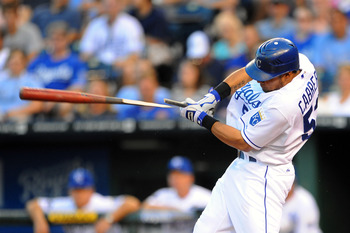 KANSAS CITY, MO - JUNE 3: Melky Cabrera #53 of the Kansas City Royals breaks his bat while batting against the Minnesota Twins at Kauffman Stadium on June 3, 2011 in Kansas City, Missouri. (Photo by G. Newman Lowrance/Getty Images)