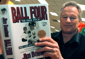 382468 01: Former New York Yankees pitcher Jim Bouton signs copies of his new book, 'Ball Four: The Final Pitch' November 27, 2000 at a Waldenbooks store in Schaumburg, IL. 'Ball Four: The Final Pitch' is a new and final edition of his controversial 1970