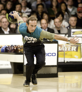 WICHITA, KS - OCTOBER 26:  Norm Duke rolls a strike in the finals of the PBA World Championships held at the Northrock Lanes on October 26, 2008 in Wichita, Kansas. (Photo by Craig Hacker/Getty Images for PBA)