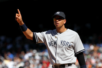 ANAHEIM, CA - JUNE 5:  Third baseman Alex Rodriguez #13 of the New York Yankees signals during the game against the Los Angeles Angels of Anaheim on June 5, 2011 at Angel Stadium in Anaheim, California.  The Yankees won 5-3.  (Photo by Stephen Dunn/Getty