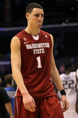 LOS ANGELES, CA - MARCH 10:  Klay Thompson #1 of the Washington State Cougars walks off the court after the Cougars lost to the Washington Huskies 89-87 in the quarterfinals of the 2011 Pacific Life Pac-10 Men's Basketball Tournament at Staples Center on