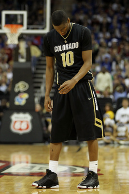 KANSAS CITY, MO - MARCH 11:  Alec Burks #10 of the Colorado Buffaloes reacts to a play during their semifinal game against the Kansas Jayhawks in the 2011 Phillips 66 Big 12 Men's Basketball Tournament at Sprint Center on March 11, 2011 in Kansas City, Mi