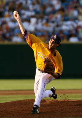 OMAHA, NE - JUNE 24:  Pitcher Anthony Ranaudo #23 of the Louisiana State University Tigers pitches in the fifth inning against the Texas Longhorns during Game 3 of the 2009 NCAA College World Series at Rosenblatt Stadium on June 24, 2009 in Omaha, Nebrask