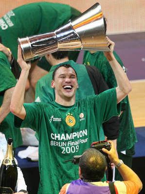 BERLIN - MAY 3:  Sarunas Jasikevicius of Athen is seen during the awards ceremony after the Euroleague Basketball Final Four final match between Panathinaikos Athen and CSKA Moscow at the O2 World arena on May 3, 2009 in Berlin, Germany. (Photo by Matthia