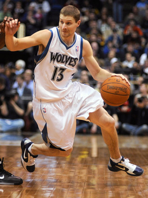 MINNEAPOLIS, MN - APRIL 1: Luke Ridnour #13 of the Minnesota Timberwolves drives to the basket against the Miami Heat during the first half of a basketball game at Target Center on April 1, 2011 in Minneapolis, Minnesota. Heat defeated the Timberwolves 11