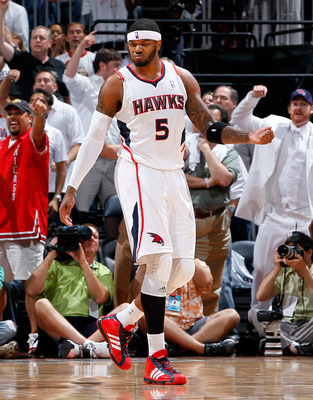 ATLANTA, GA - MAY 12:  Josh Smith #5 of the Atlanta Hawks reacts after drawing a foul after a shot against the Chicago Bulls in Game Six of the Eastern Conference Semifinals in the 2011 NBA Playoffs at Phillips Arena on May 12, 2011 in Atlanta, Georgia.