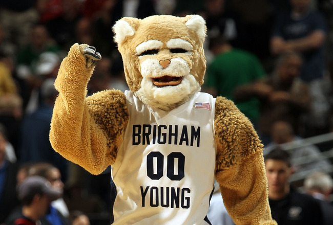 DENVER, CO - MARCH 17:  The Brigham Young Cougars mascot performs during the second round of the 2011 NCAA men's basketball tournament at Pepsi Center on March 17, 2011 in Denver, Colorado.  (Photo by Doug Pensinger/Getty Images)