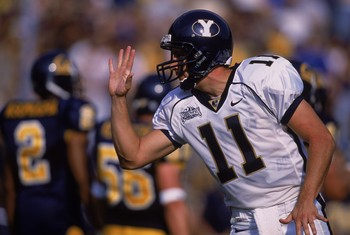 8 Sep 2001:  Quarterback Brandon Doman #11 of the Brigham Young Cougars gesturing during the game against the California Bears at Memorial Stadium in Berkeley, California. The Cougars defeated the Bears 44-16.Mandatory Credit: Jed Jacobsohn  /Allsport