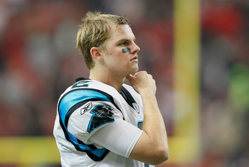 ATLANTA, GA - JANUARY 02:  Quarterback Jimmy Clausen #2 of the Carolina Panthers looks on from the sidelines during the game against the Atlanta Falcons at Georgia Dome on January 2, 2011 in Atlanta, Georgia.  (Photo by Kevin C. Cox/Getty Images)