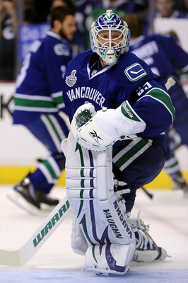 VANCOUVER, BC - JUNE 04:  Cory Schneider #35 of the Vancouver Canucks warms up in goal prior to Game Two against the Boston Bruins in the 2011 NHL Stanley Cup Final at Rogers Arena on June 4, 2011 in Vancouver, British Columbia, Canada.  (Photo by Harry H