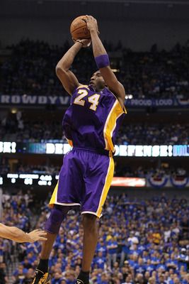 DALLAS, TX - MAY 06:  Guard Kobe Bryant #24 of the Los Angeles Lakers takes a shot against the Dallas Mavericks in Game Three of the Western Conference Semifinals during the 2011 NBA Playoffs on May 6, 2011 at American Airlines Center in Dallas, Texas.  N