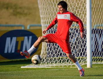 PRETORIA, SOUTH AFRICA - JUNE 24:  Jose Torres of USA controls the ball during training session on June 24, 2010 in Pretoria, South Africa. United States will play their second round World Cup match against Ghana on Saturday, June 26, 2010, at Royal Bafok