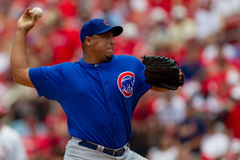ST. LOUIS, MO - JUNE 5: Starter Carlos Zambrano #38 of the Chicago Cubs pitches against the St. Louis Cardinals at Busch Stadium on June 5, 2011 in St. Louis, Missouri.  The Cardinals beat the Cubs 3-2 in 10 innings.  (Photo by Dilip Vishwanat/Getty Image