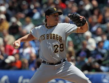 CHICAGO, IL - MAY 27: Starting pitcher Kevin Correia #29 of the Pittsburgh Pirates delivers the ball against the Chicago Cubs at Wrigley Field on May 27, 2011 in Chicago, Illinois. (Photo by Jonathan Daniel/Getty Images)
