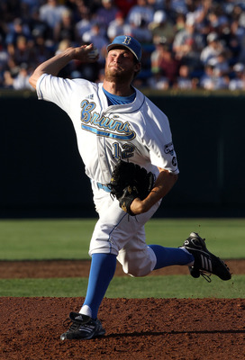 OMAHA, NE - JUNE 28:  Starting pitcher Gerrit Cole #12 of the UCLA Bruins pitches against the South Carolina Gamecocks during Game 1 of the men's 2010 NCAA College Baseball World Series at Rosenblatt Stadium on June 28, 2010 in Omaha, Nebraska.  (Photo by