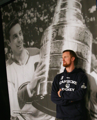 VANCOUVER, BC - MAY 31:  Henrik Sedin #33 of the Vancouver Canucks takes a break following a media session the day before the opening game of the 2011 NHL Stanley Cup Finals at the Rogers Arena on May 31, 2011 in Vancouver, Canada.  (Photo by Bruce Bennet
