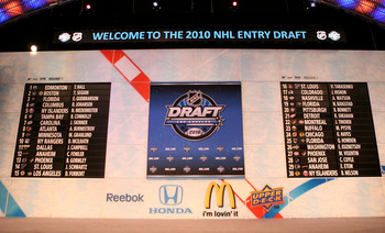 LOS ANGELES, CA - JUNE 25:  A view of the draft boards during the 2010 NHL Entry Draft at Staples Center on June 25, 2010 in Los Angeles, California.  (Photo by Bruce Bennett/Getty Images)