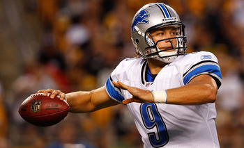 PITTSBURGH - AUGUST 14:  Matthew Stafford #9 of the Detroit Lions drops back to pass against the Pittsburgh Steelers during the preseason game on August 14, 2010 at Heinz Field in Pittsburgh, Pennsylvania.  (Photo by Jared Wickerham/Getty Images)