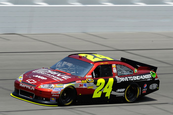 KANSAS CITY, KS - JUNE 03:  Jeff Gordon drives the #24 Drive to End Hunger Chevrolet during practice for the NASCAR Sprint Cup Series STP 400 at Kansas Speedway on June 3, 2011 in Kansas City, Kansas.  (Photo by Jared C. Tilton/Getty Images for NASCAR)
