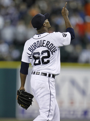 DETROIT, MI - MAY 04: Al Alburquerque #62 of the Detroit Tigers reacts after beating the New York Yankees 4-0 at Comerica Park on May 4, 2011 in Detroit, Michigan. (Photo by Gregory Shamus/Getty Images)