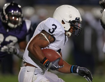 EVANSTON, IL - OCTOBER 31: Brandon Beachum #3 of the Penn State Nittany Lions runs against the Northwestern Wildcats at Ryan Field on October 31, 2009 in Evanston, Illinois. Penn State defeated Northwestern 34-13. (Photo by Jonathan Daniel/Getty Images)