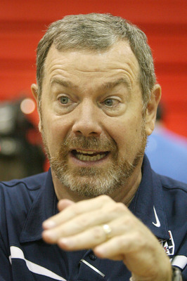 LAS VEGAS - JULY 24:  Head coach of the USA Basketball Men's Select Team P.J. Carlesimo is interviewed at Valley High School June 24, 2008 in Las Vegas, Nevada.  (Photo by Ethan Miller/Getty Images)