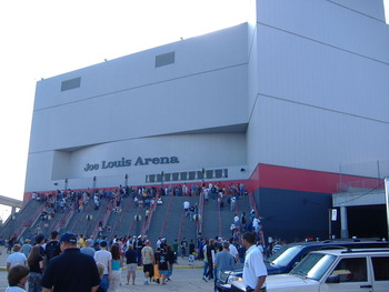 Up the steps to Joe Louis Arena